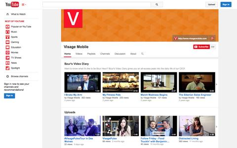 Screenshot of YouTube Page youtube.com - Visage Mobile  - YouTube - captured Oct. 26, 2014