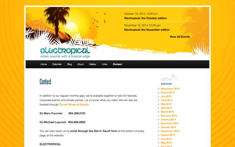 Screenshot of Contact Page electropical.ca - ContactElectropical - captured Oct. 2, 2014
