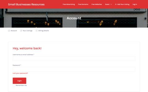 Screenshot of Login Page smallbusinessesresources.com - Account - Small Businesses Resources - captured July 14, 2018