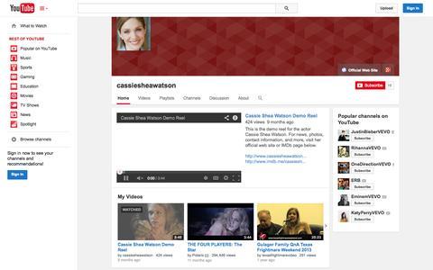 Screenshot of YouTube Page youtube.com - cassiesheawatson  - YouTube - captured Nov. 3, 2014