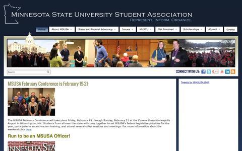 Screenshot of Home Page msusa.org - Minnesota State University Student Association - captured Feb. 13, 2016