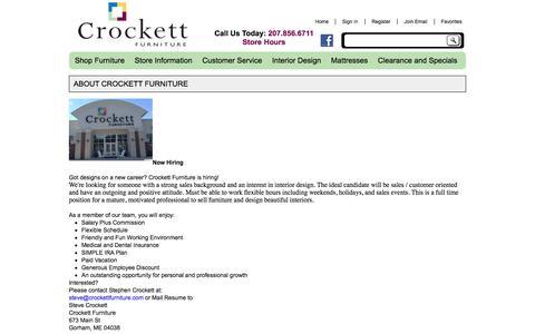 Screenshot of About Page crockettfurniture.com - About Crockett Furniture   Portland Maine Furniture Store   Gorham, ME - captured Feb. 1, 2016