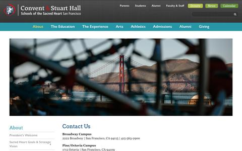 Screenshot of Contact Page sacredsf.org - Campus Map | Convent & Stuart Hall - captured Oct. 2, 2018