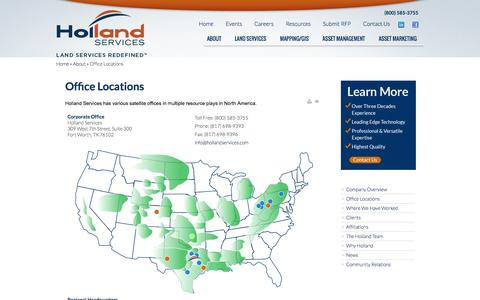 Screenshot of Locations Page hollandservices.com - Oil and Gas Land Services - Office Locations - captured Sept. 19, 2014