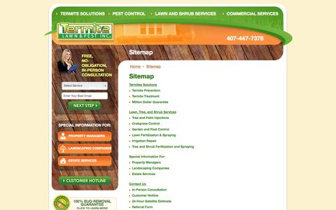 Screenshot of Site Map Page termitelawnandpest.com - Sitemap | Termite Lawn & Pest - captured Oct. 6, 2014
