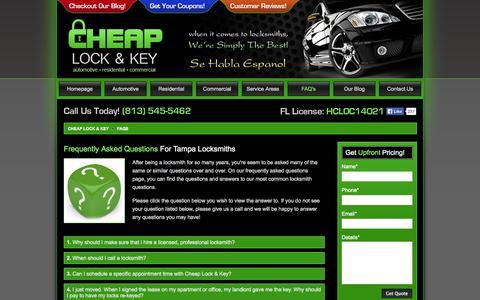 Screenshot of FAQ Page cheaplockandkey.com - Locksmith Frequent Questions - FAQs - Cheap Lock & Key - captured Oct. 26, 2014
