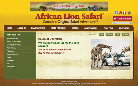Screenshot of Hours Page lionsafari.com - African Lion Safari - Hours of Operation - captured Nov. 25, 2015