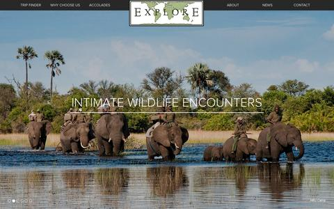 Screenshot of Home Page exploreafrica.net - EXPLORE, Inc. | Custom Luxury African Safaris and Tours - captured Oct. 3, 2014