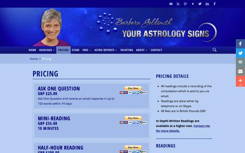 Screenshot of Pricing Page yourastrologysigns.com - Astrological Reading Prices | Your Astrology Signs - captured Sept. 23, 2018