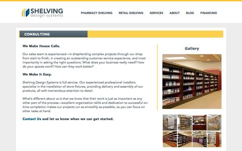 Screenshot of Services Page shelvingdesignsystems.com - Consulting » Shelving Design - captured July 22, 2016