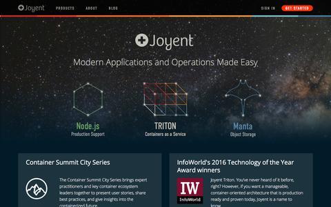 Screenshot of Home Page joyent.com - Joyent | Joyent - captured June 14, 2016