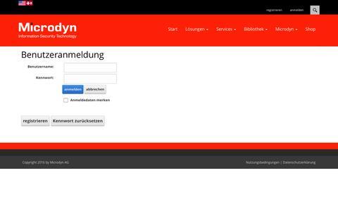 Screenshot of Login Page microdyn.ch - Benutzeranmeldung - captured Nov. 18, 2016