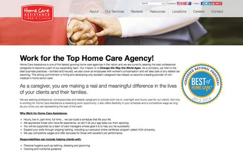 Screenshot of Jobs Page homecareassistance.com - Come work for the best! | Home Care Assistance - captured Nov. 2, 2014