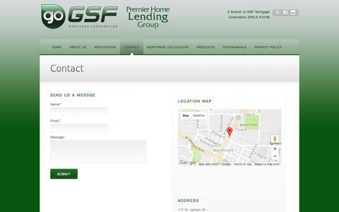 Screenshot of Contact Page premierhomelending.biz - Contact Us – Home Lending, Mortgage, Home Mortgage – Marshfield, WI - captured May 20, 2017
