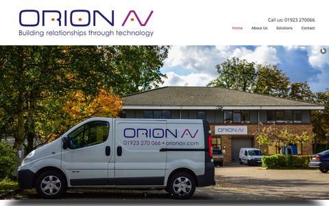 Screenshot of Home Page orionav.com - Home | Orion Audio Visual - Providing Audio Visual Services across the UK and Europe - captured Feb. 14, 2016