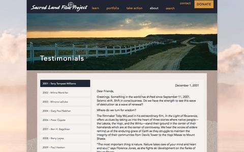 Screenshot of Testimonials Page sacredland.org - Testimonials – Sacred Land - captured Oct. 4, 2017