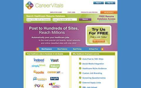 Screenshot of Jobs Page careervitals.com - Employer Manage Jobs - CareerVitals.com Healthcare Job Board - Post Jobs for Free - captured Sept. 19, 2014