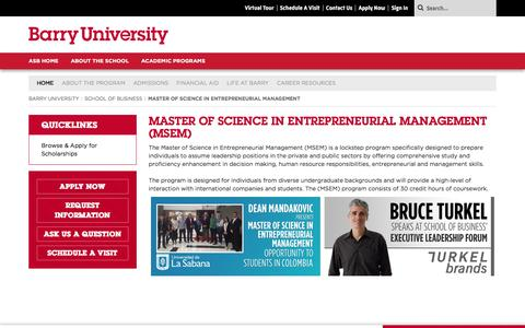 Screenshot of Team Page barry.edu - Master of Science in Entrepreneurial Management  : School of Business : Barry University, Miami Shores, Florida - captured Nov. 22, 2016