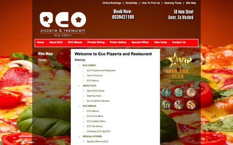 Screenshot of Site Map Page ecogorey.com - Site Map - ECO Pizzeria & Restaurant Gorey | Restaurant in Gorey | Pizza Take Away | Italian Restaurant - captured Oct. 22, 2014