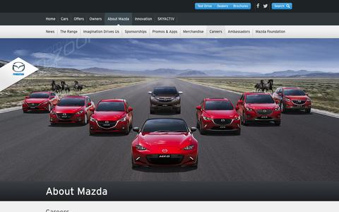 Screenshot of Jobs Page mazda.com.au - Mazda Careers – Opportunities and Careers at Mazda Australia - captured Oct. 22, 2015