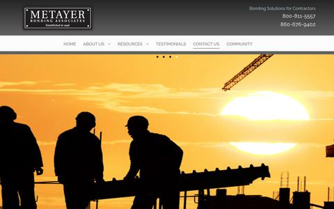 Screenshot of Contact Page mbasurety.com - Contact Us | Metayer Bonding AssociatesMetayer Bonding Associates - captured Nov. 28, 2016