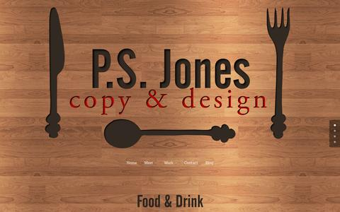 Screenshot of Home Page psjonescopydesign.com - Food and Drink Copy & Design Services by P.S. Jones - captured Jan. 23, 2015