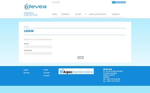 Screenshot of Login Page devea-environnement.com captured Sept. 30, 2014