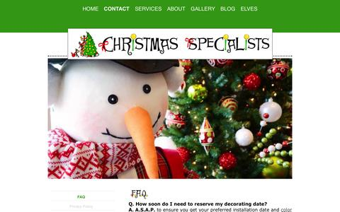 Screenshot of FAQ Page christmasspecialists.com - Discover More About the Christmas Specialists - captured Oct. 28, 2014