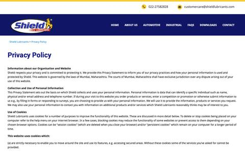 Screenshot of Privacy Page shieldlubricants.com - Privacy Policy – Shield Lubricants - captured Oct. 20, 2018