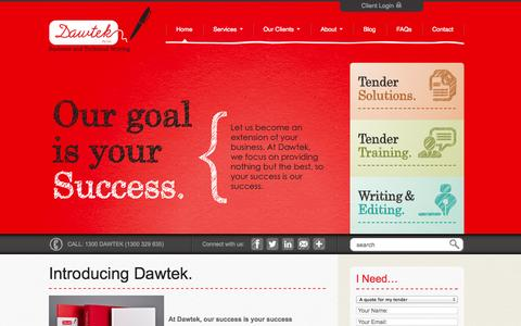 Screenshot of Home Page dawtek.com.au - Dawtek - Experts In Tender writing, Tender Training, Technical Writing, Editing, Copywriting & Business documents - captured Sept. 30, 2014