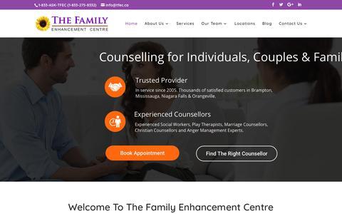 Screenshot of Home Page tfec.ca - TFEC Counselling | Brampton, Mississauga, Niagara, Orangeville - captured Oct. 18, 2018