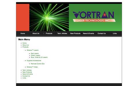 Screenshot of Site Map Page vortranlaser.com - Sitemap - captured Oct. 26, 2014