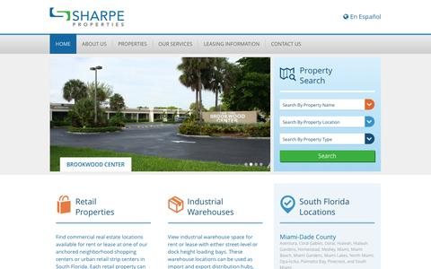 Screenshot of Home Page sharpeproperties.com - Commercial Real Estate in Miami Dade and Broward | Sharpe Properties - captured Dec. 21, 2016