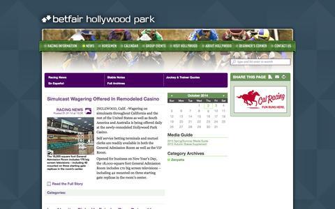 Screenshot of Press Page betfairhollywoodpark.com - Hollywood Park • News - captured Oct. 2, 2014