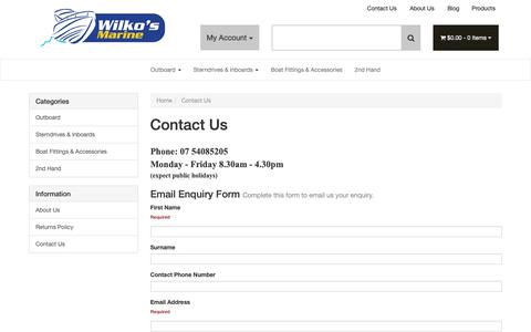Screenshot of Contact Page wilkos.com.au - Contact Us - captured Oct. 19, 2018