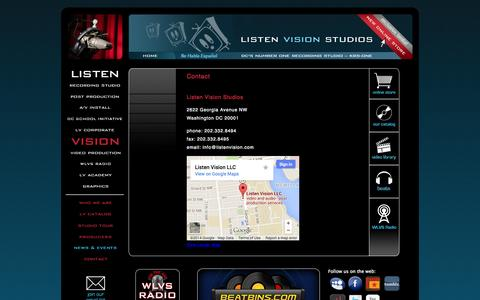 Screenshot of Contact Page listenvision.com - Recording Studio Maryland | Listen Vision | Contact Us - captured Sept. 30, 2014