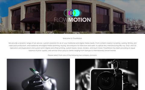 Screenshot of Home Page flowmotioninc.com - Front Page - Flow Motion Inc - captured June 17, 2015
