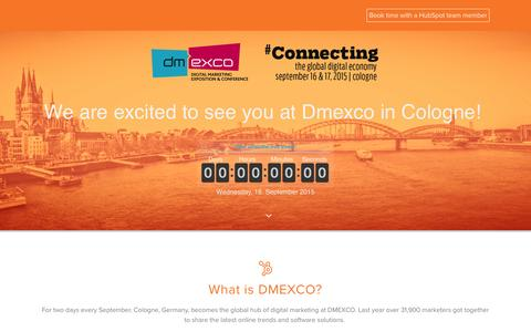 Screenshot of Landing Page hubspot.com - Dmexco Marketing Conference - captured Oct. 22, 2016