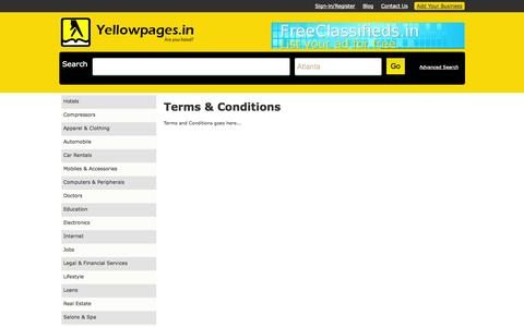 Screenshot of Terms Page yellowpages.in - Cms:: Yellowpages are a directory having contact information about businesses or services offered by various companies. - captured Nov. 4, 2014
