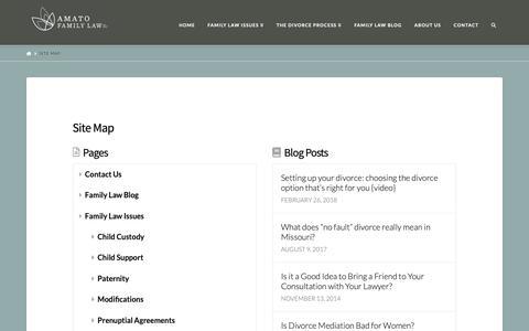 Screenshot of Site Map Page amatofamilylaw.com - Site Map - Amato Family Law - captured Oct. 3, 2018