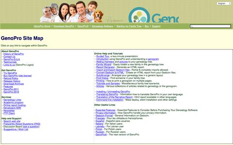 Screenshot of Site Map Page genopro.com - GenoPro Site Map - GenoPro - captured July 17, 2018