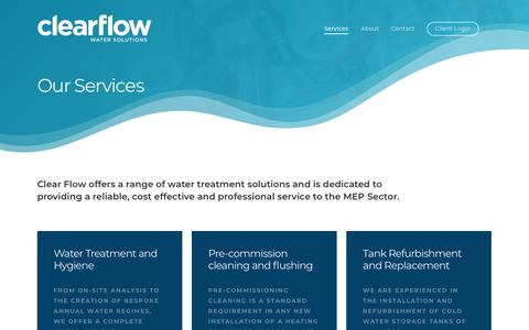 Screenshot of Services Page clearflowwater.co.uk - Water Treatment and Hygiene Services - Clear Flow Water Solutions - captured Sept. 28, 2018
