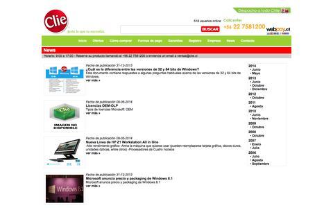 Screenshot of Press Page clie.cl - Tienda Clie Impresoras Fotocopiadoras Plotter Proyectores Scanners Toners HP Brother Xerox - captured Sept. 30, 2014