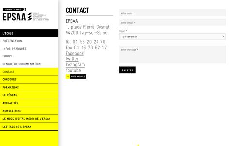 Screenshot of Contact Page epsaa.fr - Contact | epsaa - captured Oct. 29, 2018