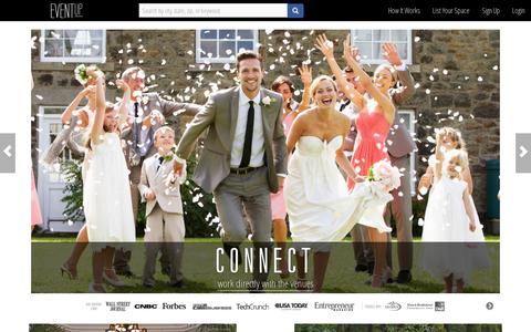 Screenshot of Home Page eventup.com - Event Venues & Space for Corporate Events & Weddings | Eventup - captured July 17, 2014
