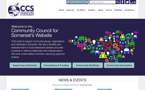 Screenshot of Home Page somersetrcc.org.uk - The Community Council for Somerset - CCS supports community groups, organisation and individuals in Somerset's communities through a range of diverse projects… - captured Sept. 29, 2018