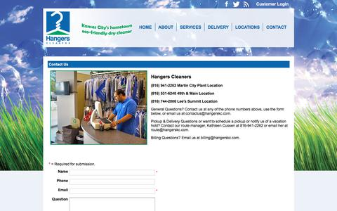 Screenshot of Contact Page hangerskc.com - Hangers Cleaners - Contact Us - captured Sept. 24, 2018