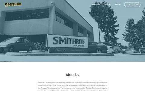 Screenshot of About Page smithrite.com - About — Smithrite Disposal - captured Oct. 24, 2017