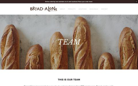 Screenshot of About Page breadalone.com - Team — Bread Alone - captured Oct. 11, 2017