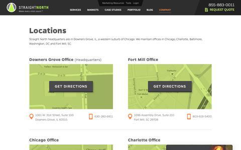 Screenshot of Locations Page straightnorth.com - Locations - captured Oct. 18, 2018